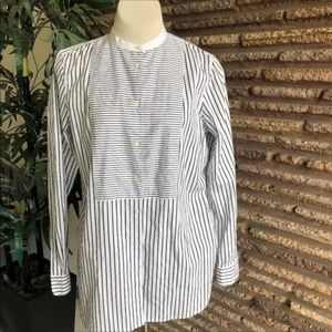 Ralph Lauren Striped Tuxedo Bib Front Tunic Shirt